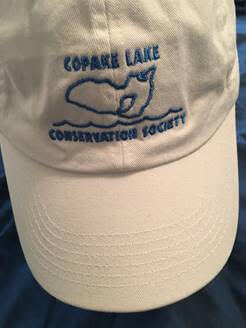 White Cap: Blue embroidered outline of Copake Lake
